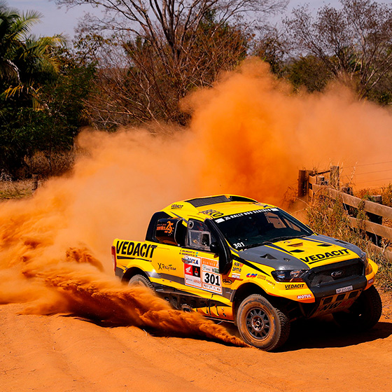 Flat out all the way on day 5 and overall lead for NWM/X Rally Team